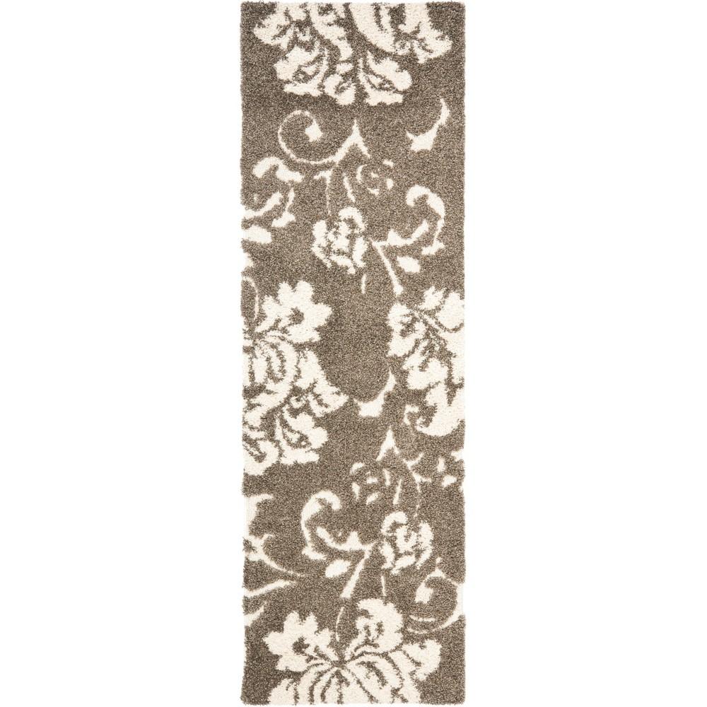 23X11 Floral Loomed Runner Smoke/Beige - Safavieh Cheap