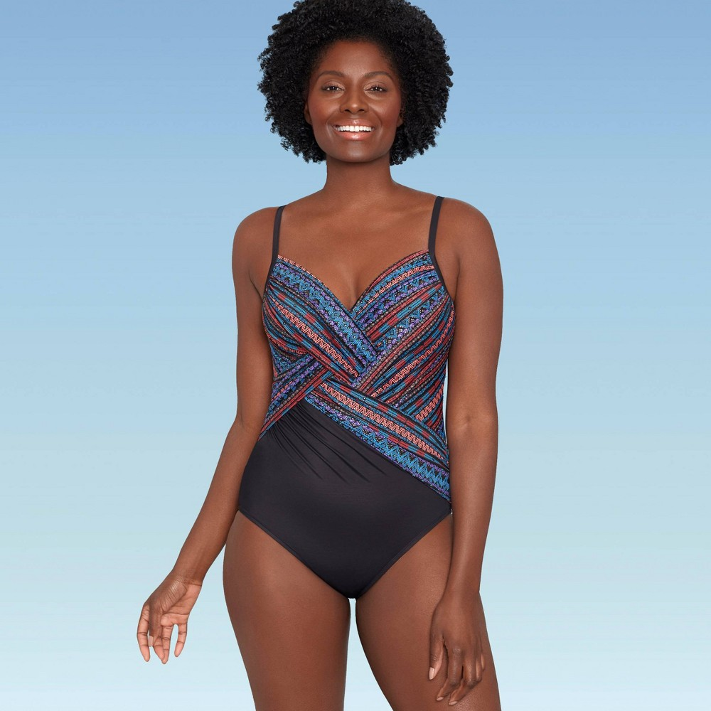 Women 39 S Slimming Control Cross Front One Piece Swimsuit Dreamsuit By Miracle Brands Multi Stripe 12