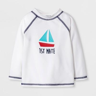 Baby Boys' Sailboat Long Sleeve Rash Guard - Cat & Jack™ White 6-9M