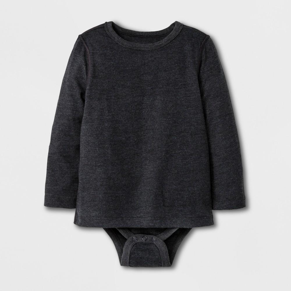 Toddler Boys' Adaptive Long Sleeve Bodysuit - Cat & Jack Black 2T