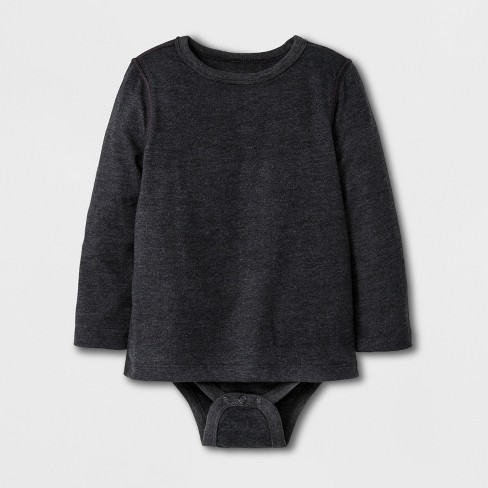 Toddler Boys' Adaptive Long Sleeve Bodysuit - Cat & Jack™ Black - image 1 of 1