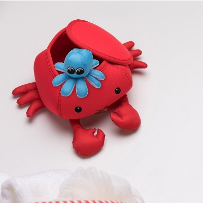Manhattan Toy Neoprene Crab 5 Piece Floating Spill n Fill Bath Toy with Quick Dry Sponges and Squirt Toy