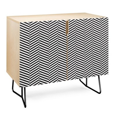 Three of The Possessed Leaves Credenza Black - Deny Designs