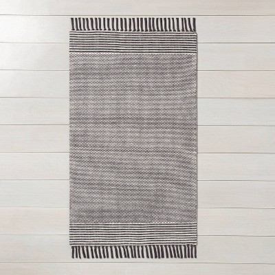 2' x 3' Textured Border Stripe Area Rug Railroad Gray - Hearth & Hand™ with Magnolia