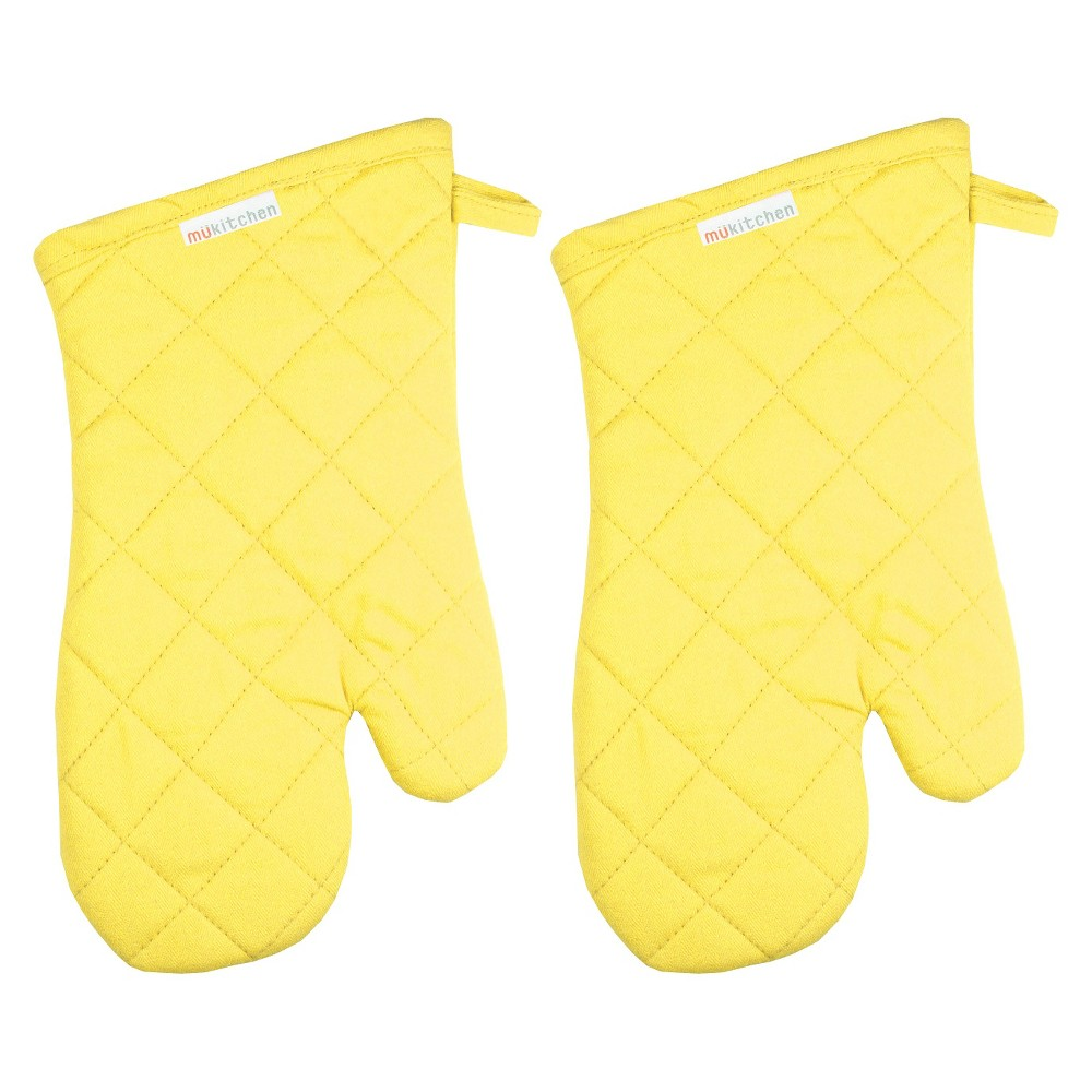 "Image of ""13"""" 2pk Oven Mitt Yellow - Mu Kitchen"""
