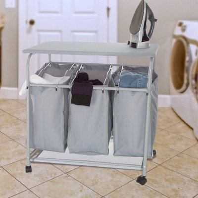 """Hastings Home Rolling 3-Bin Laundry Sorter and Ironing Station - 29.5"""" x 18"""", Gray"""