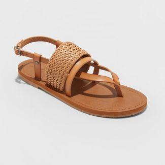 Women's Senora Ankle Strap Thong Sandals - Universal Thread™ Tan 9.5