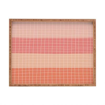 Hello Twiggs Peachy Stripes Rectangular Bamboo Tray - Deny Designs