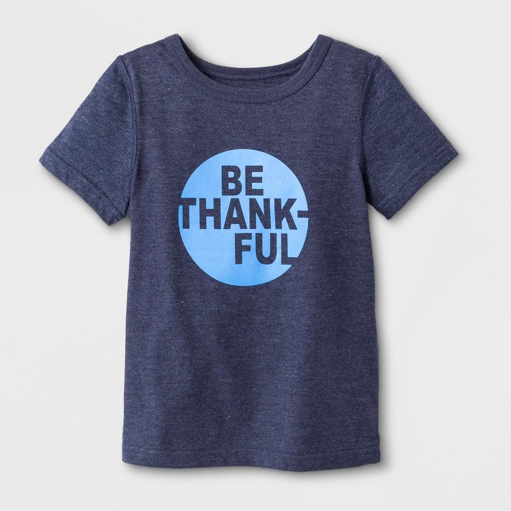 "Image of Toddler Boys' Adaptive Short Sleeve ""Be Thankful"" Graphic T-Shirt - Cat & Jack Navy 4T, Blue"