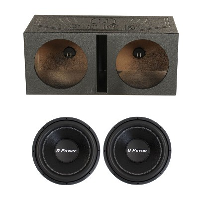 QPower QBOMB12V 12 Inch Dual Ported Vented Subwoofer Box Enclosure and QPF121700 Watt Deluxe Series Dual Voice Coil Car Audio Power Subwoofer (2 Pack)