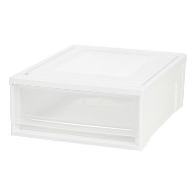 IRIS 4pk Shallow Stacking Plastic Storage Drawer White