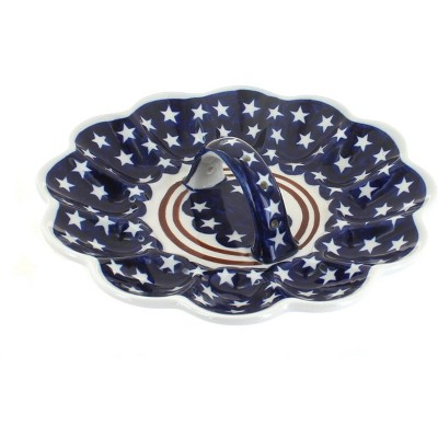 Blue Rose Polish Pottery Stars & Stripes Egg Plate