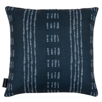 Madelyn Square Throw Pillow Dark Blue/White - Safavieh