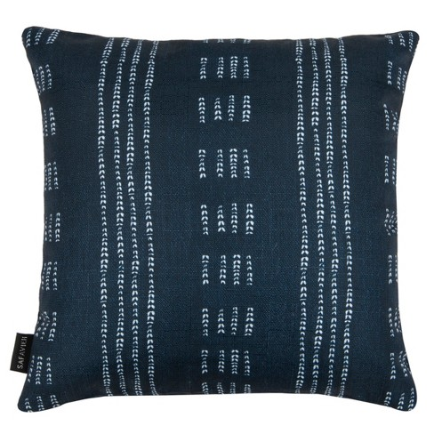 Madelyn Square Throw Pillow Dark Blue/White - Safavieh - image 1 of 5