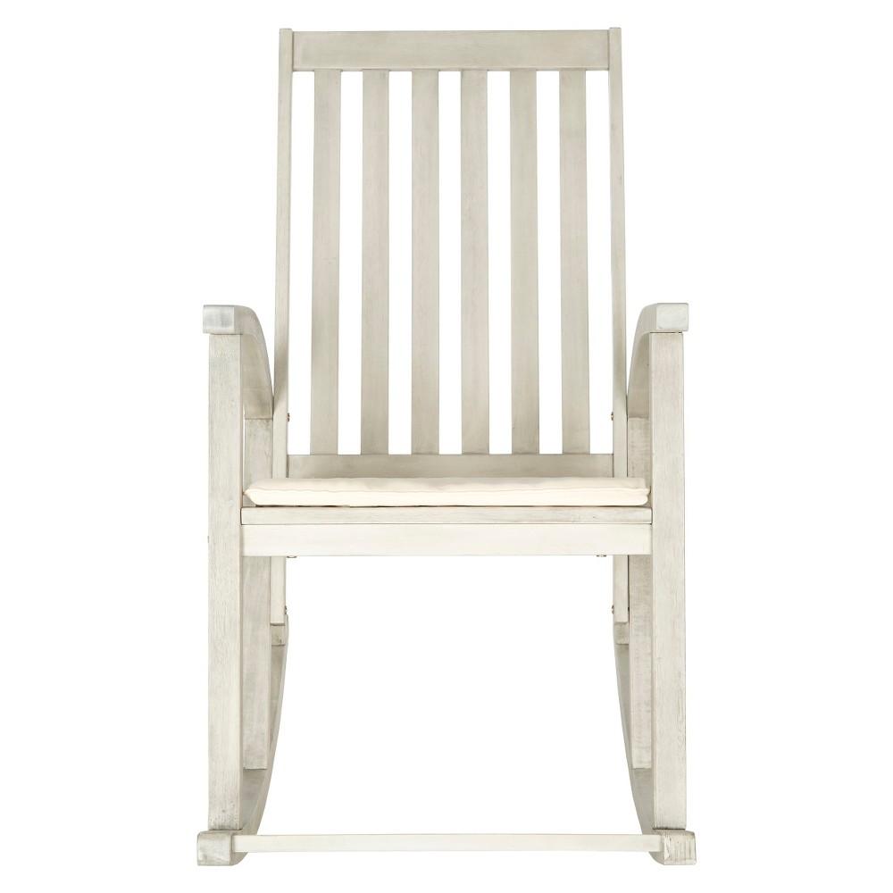 Lugano Wood Patio Rocking Chair White Safavieh
