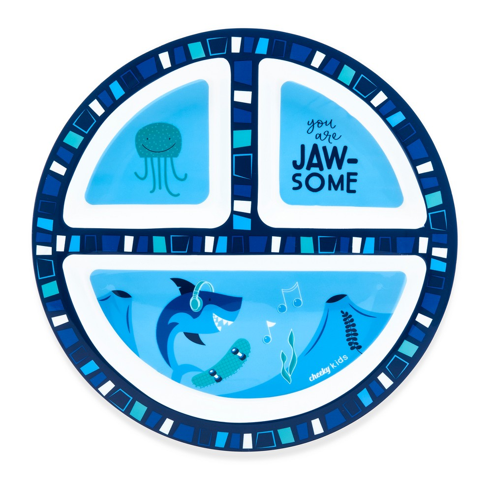 Image of Cheeky Plastic Divided Kids Plate 8.3 Shark - Blue