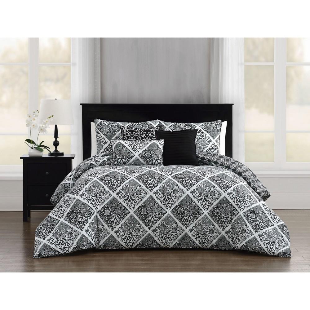 King 6pc Luella Comforter Set Black/White - Addison Home