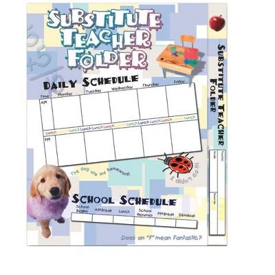 Hammond & Stephens Elementary Substitute Teacher Pocket Folder, 9-1/2 x 11-5/8 Inches, pk of 12