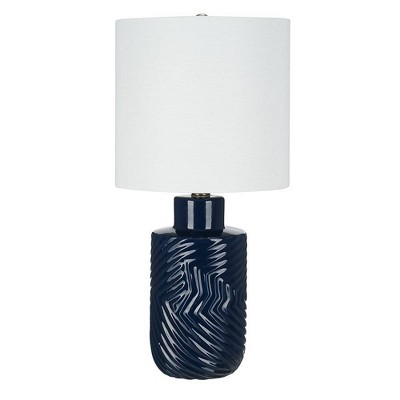 "20"" Textured Ceramic Table Lamp (Includes LED Light Bulb) Blue - Cresswell Lighting"