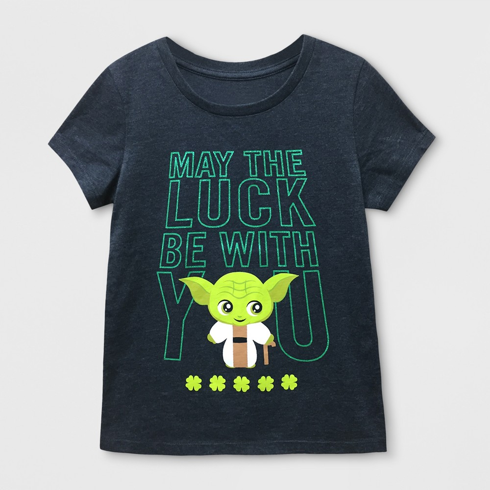 Girls' Star Wars Yoda 'May The Luck Be With You' Graphic Short Sleeve T-Shirt - Charcoal Heather L