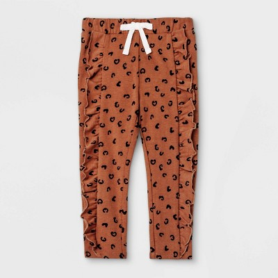Grayson Mini Toddler Girls' Heart French Terry Jogger Pants - Brown