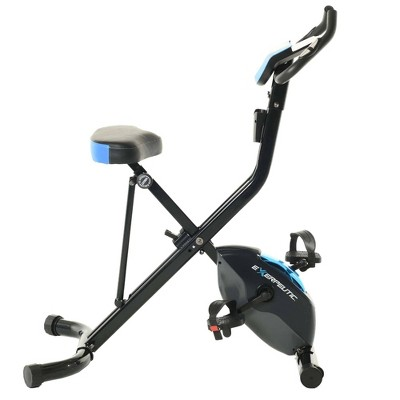 EXERPEUTIC 975 XLS Bluetooth Folding Upright Exercise Bike - Black/Blue