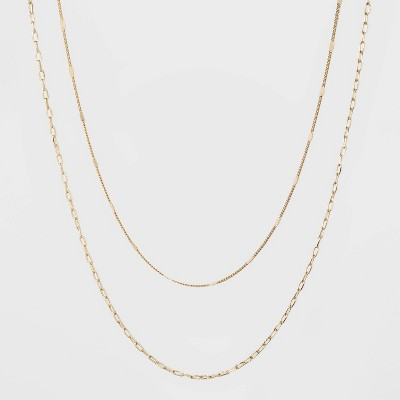 Flat Beaded and Link Chain Duo Necklace - A New Day™ Gold