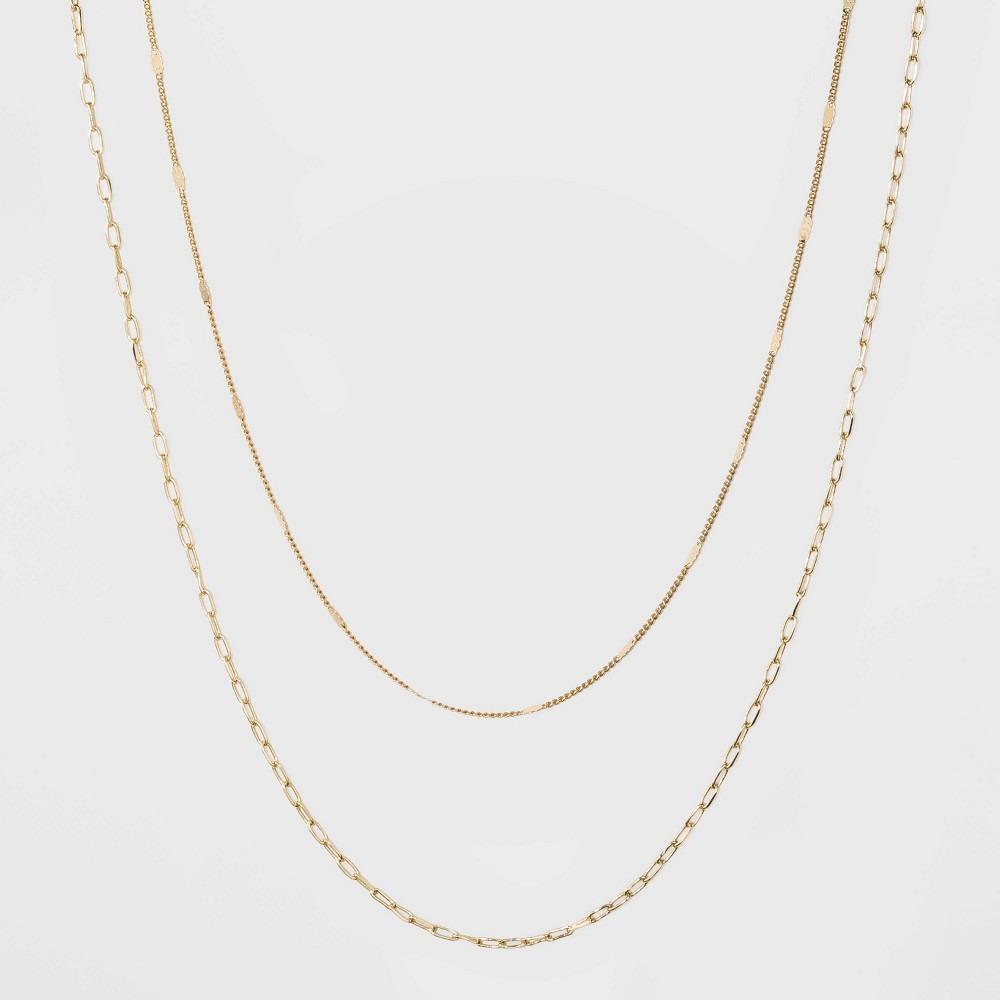 Flat Beaded And Link Chain Duo Necklace A New Day 8482 Gold