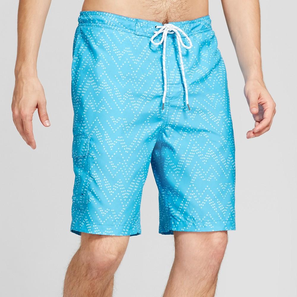 Men's Board Shorts Zig Zag Print 9 - Goodfellow & Co Blue S
