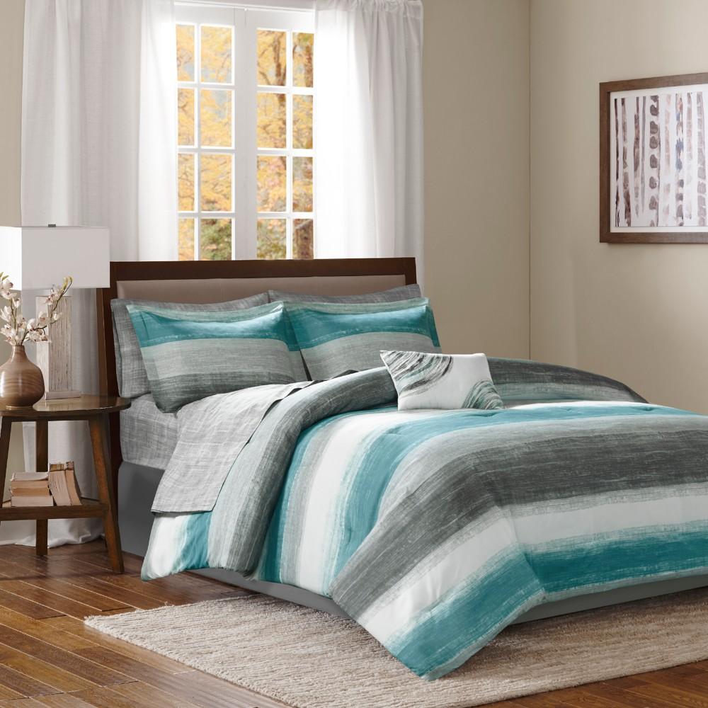 Aqua (Blue) Seth Comforter and Cotton Sheet Set (King) 9pc
