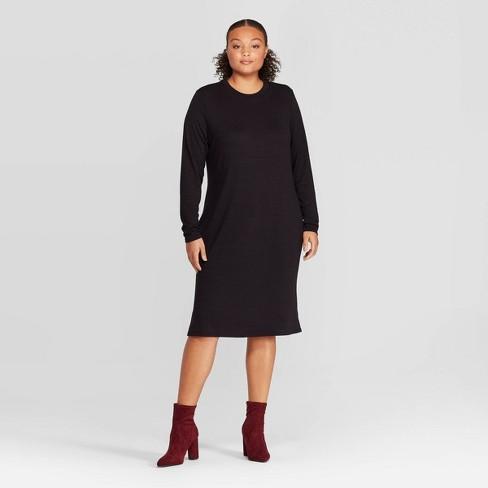 Women\'s Plus Size Long Sleeve Crewneck Essential Midi Dress - Prologue™