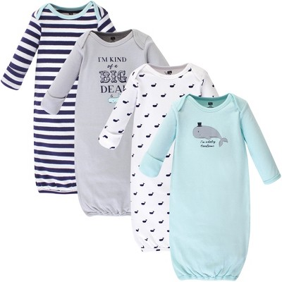 Hudson Baby Infant Boy Cotton Long-Sleeve Gowns 4pk, Handsome Whale