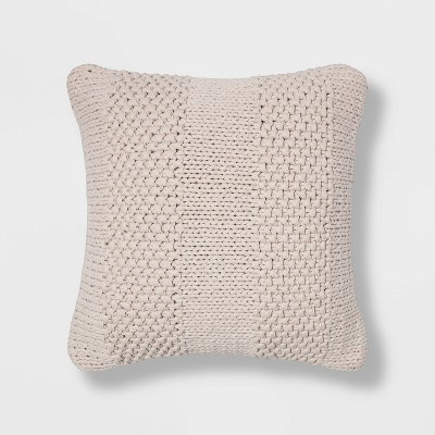 Chunky Patterned Weave Square Throw Pillow Cream - Project 62™