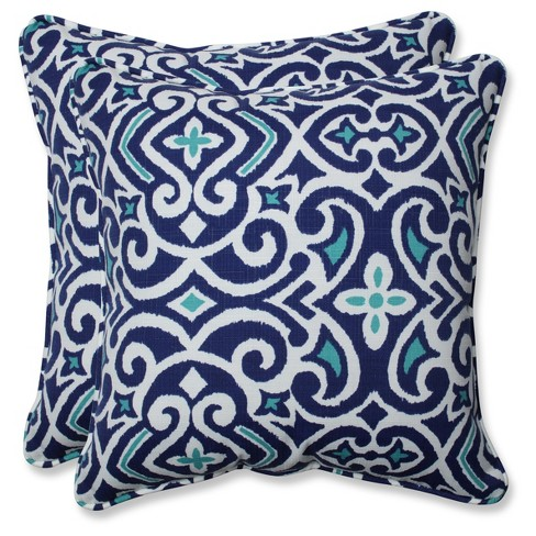 Outdoor/Indoor New Damask Blue Throw Pillow Set of 2 - Pillow Perfect