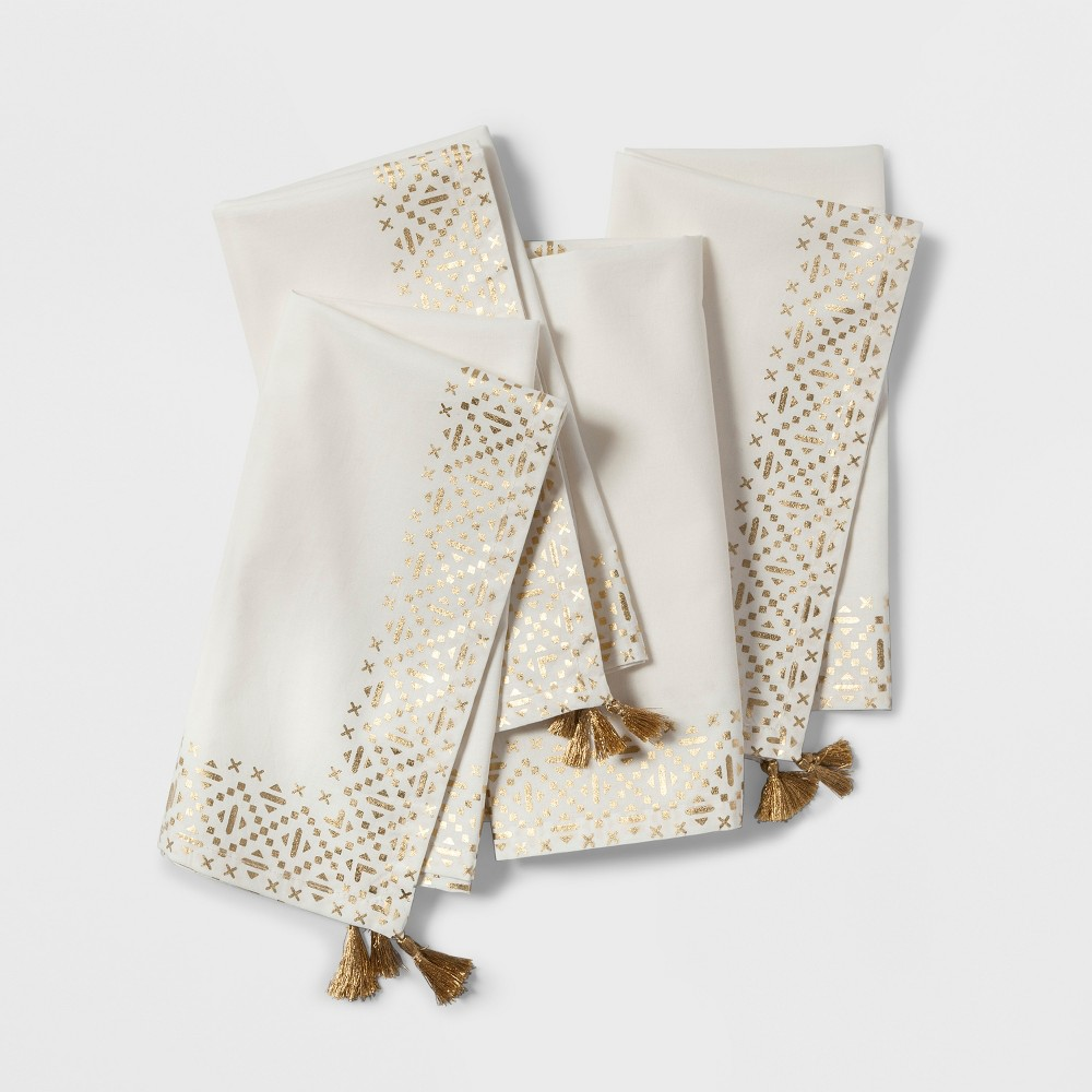 4pc Metallic Border Napkin Cream/Gold (Ivory/Gold) - Opalhouse