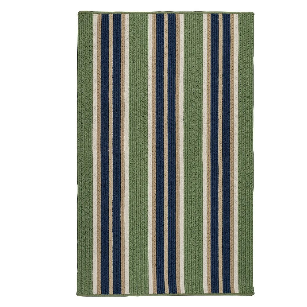 9'X12' Thin Stripe Braided Area Rug Green - Colonial Mills