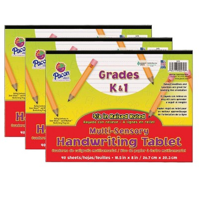 3pk Grades K-1 Multi-Sensory Handwriting Tablet - Pacon