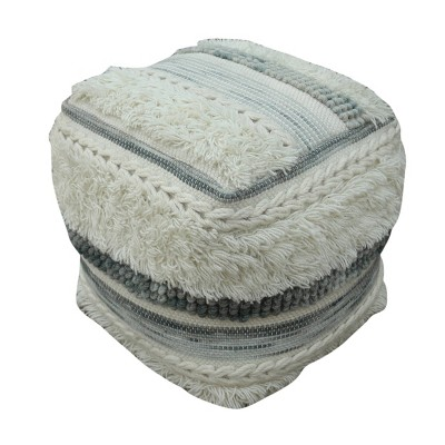 Cacey Boho Wool Pouf Ivory - Christopher Knight Home