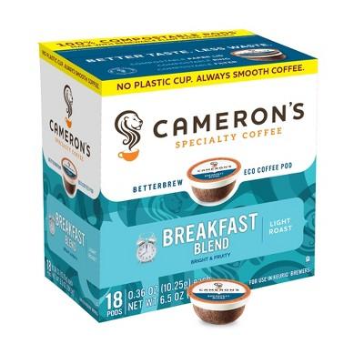 Cameron's Breakfast Blend Light Roast Coffee - Single Serve Pods - 18ct