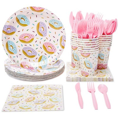 Donut Party Supplies, Disposable Dinnerware Set (Serves 24, 144 Pieces)
