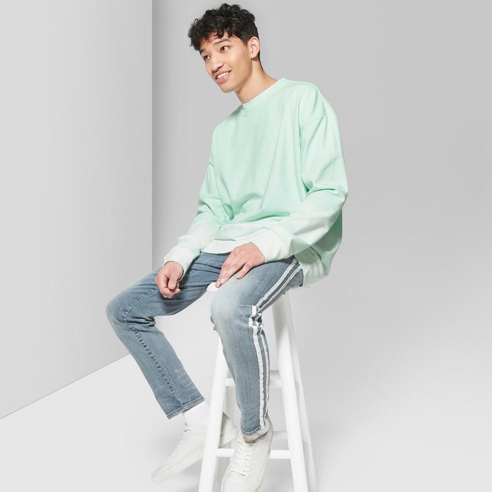 Men's Tie Dye Regular Fit Long Sleeve French Terry Pullover Sweatshirt - Original Use Moonlight Jade M