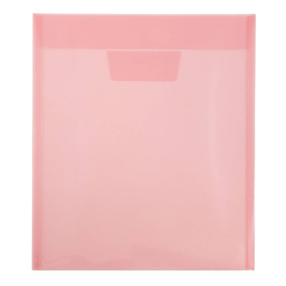 Jam Paper 9 7/8'' x 11 3/4'' 12pk Plastic Envelopes with Tuck Flap Closure, Letter Open End - Red