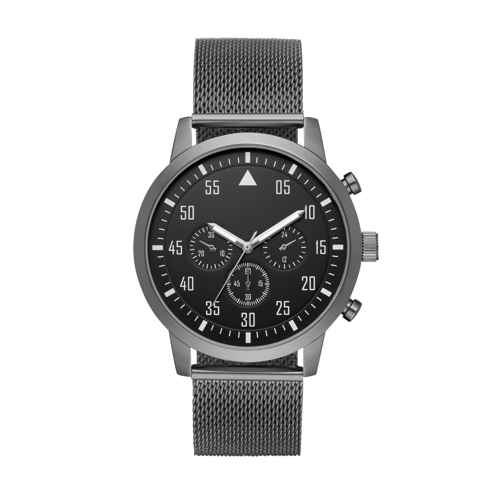 Image of Men's Aviator Mesh Strap Watch - Goodfellow & Co Gunmetal, Size: Small, Gray