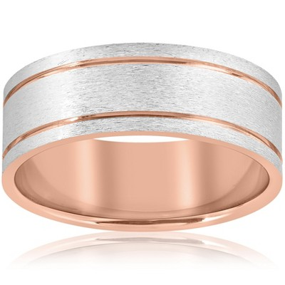 Pompeii3 14k Rose Gold 8MM Two Tone Flat Brushed Comfort Fit Mens Wedding Band