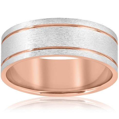 Pompeii3 14k Rose Gold 8MM Two Tone Flat Brushed Comfort Fit Mens Wedding Band - image 1 of 3