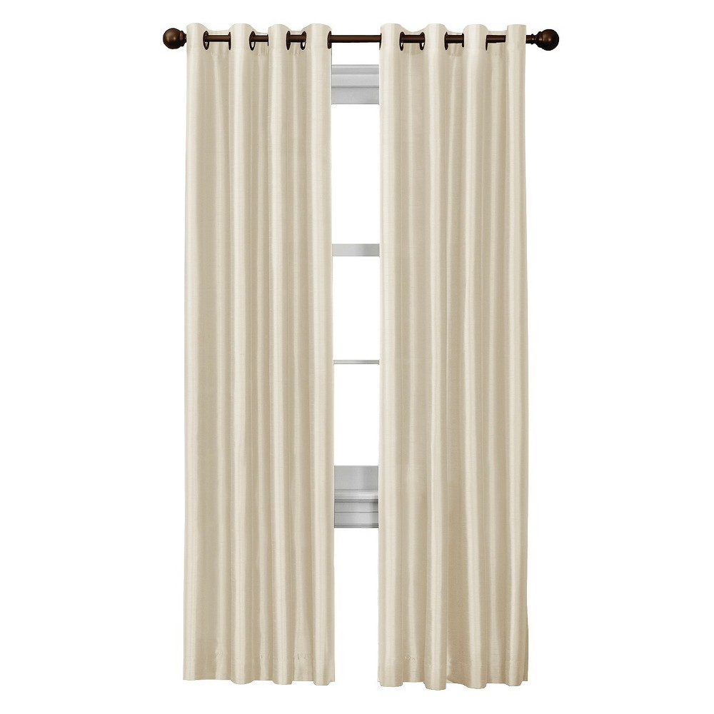 Thermal Shield Jardin Thermal Lined Room Darkening Faux Silk Curtain Panel, Natural