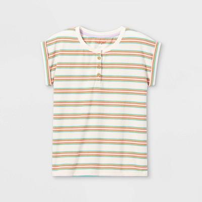 Girls' Short Sleeve Striped Henley T-Shirt - Cat & Jack™
