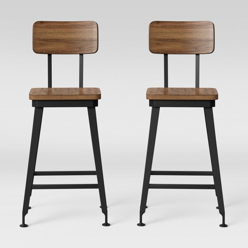 2pk Arundel Barstools Black Metal And Brown Wood Threshold