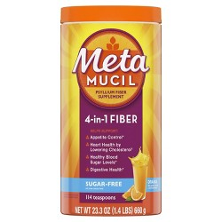 Metamucil Psyllium Fiber Supplement Sugar Free Powder - Orange Smooth