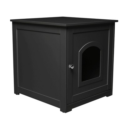 zoovilla Kitty Litter Loo Indoor Hidden Litter Box Furniture Enclosure with Framed Panels and Arched Doorways, Black
